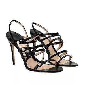Gucci Aneta Black Leather Cage Sandals Sz 39.5 NIB